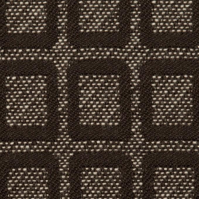 ウール&ポリエステル×スクエア(ダークブラウン)×ジャガード イメージ1