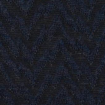 ウール&ポリエステル混×ウェーブ(ネイビー&ダークネイビー)×ジャガードニット