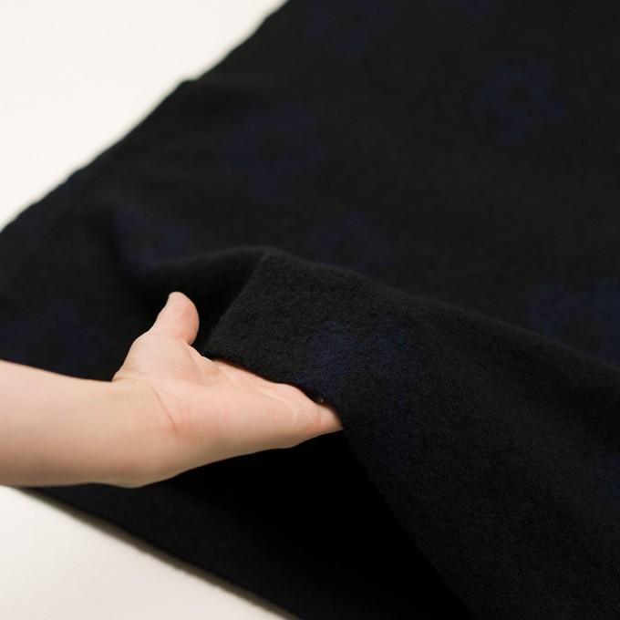 ウール&ナイロン×フラワー(ブラック&ネイビー)×ループジャガードニット_全2色 イメージ5
