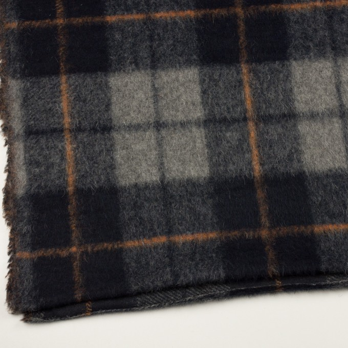 ウール&アクリル混×チェック(チャコールグレー)×シャギーニット イメージ2