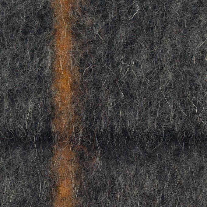 ウール&アクリル混×チェック(チャコールグレー)×シャギーニット イメージ1