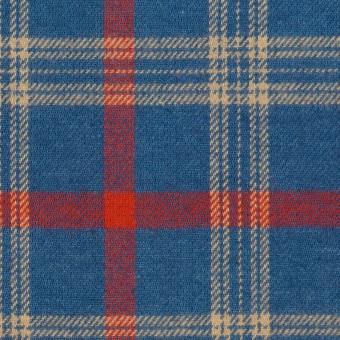 コットン×チェック(ブルー&レッド)×ビエラ サムネイル1