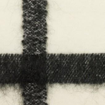ウール&ナイロン混×チェック(エクリュ&ブラック)×カルゼ