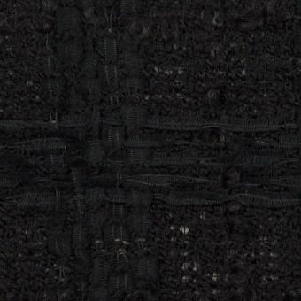 ウール&コットン混×チェック(ブラック)×ファンシーツイード
