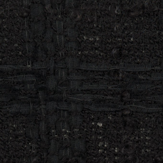 ウール&コットン混×チェック(ブラック)×ファンシーツイード イメージ1