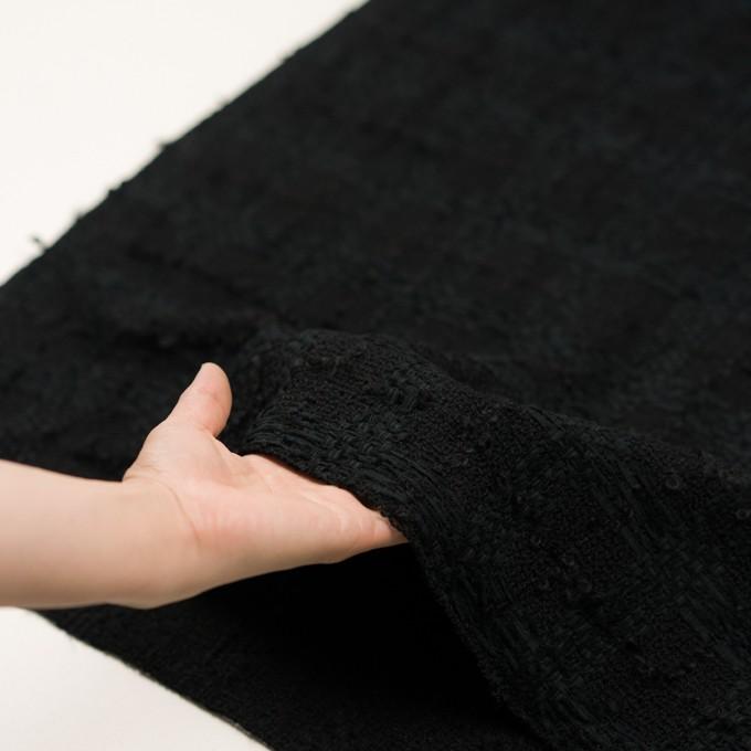 ウール&コットン混×チェック(ブラック)×ファンシーツイード イメージ5