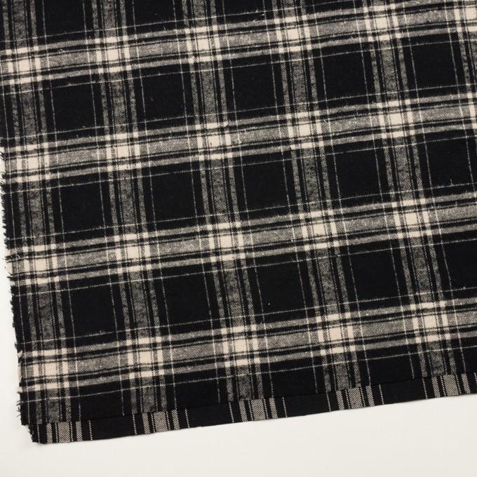 コットン×チェック(ブラック&キナリ)×フランネル イメージ2