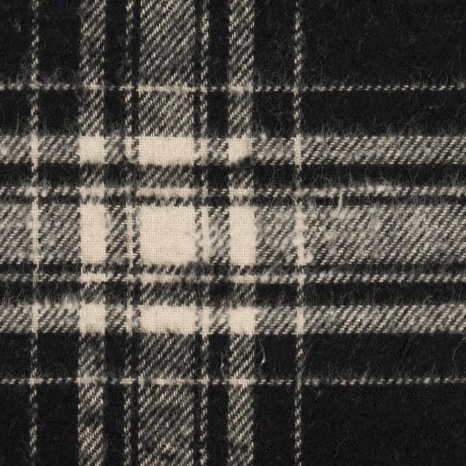 コットン×チェック(ブラック&キナリ)×フランネル イメージ1