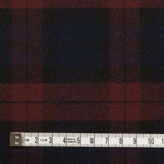 ポリエステル&レーヨン混×チェック(バーガンディー&ネイビー)×サージストレッチ サムネイル4