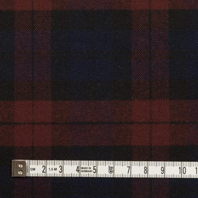 ポリエステル&レーヨン混×チェック(バーガンディー&ネイビー)×サージストレッチ イメージ4