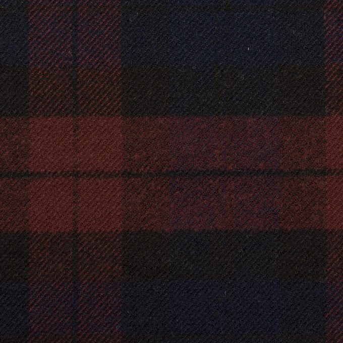 ポリエステル&レーヨン混×チェック(バーガンディー&ネイビー)×サージストレッチ イメージ1