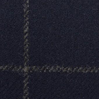 ウール×チェック(ネイビー)×ツイード(裏貼ボンディング)