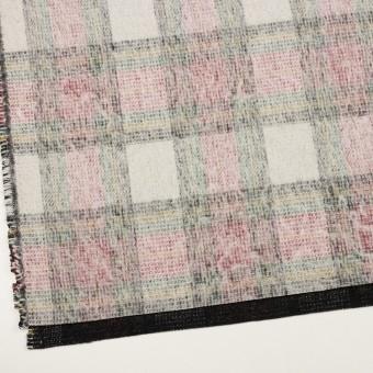 アクリル&ウール混×チェック(アイボリー、レッド&グリーン)×二重織_イタリア製 サムネイル2