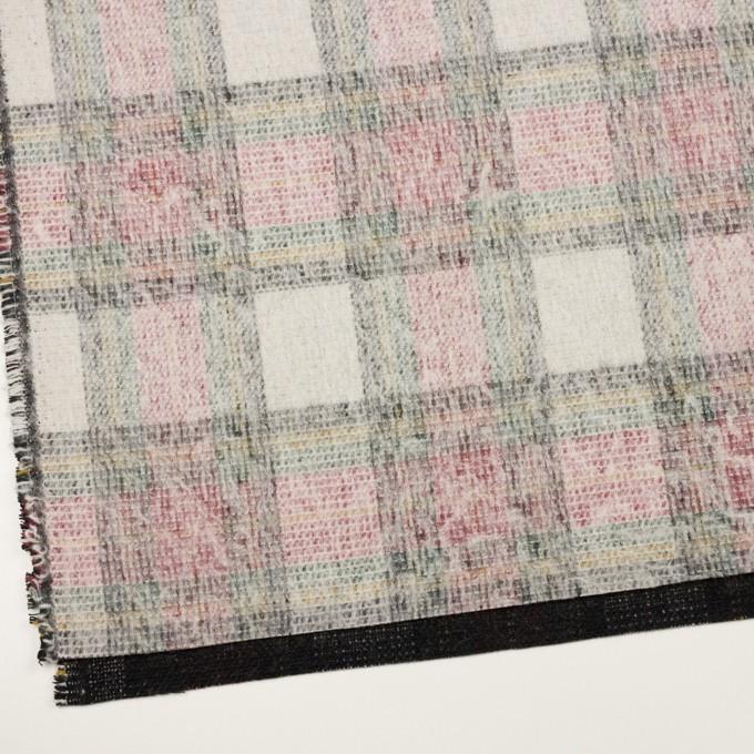 アクリル&ウール混×チェック(アイボリー、レッド&グリーン)×二重織_イタリア製 イメージ2