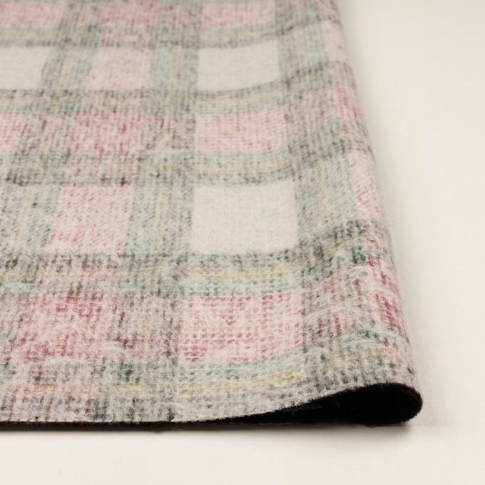 アクリル&ウール混×チェック(アイボリー、レッド&グリーン)×二重織_イタリア製 イメージ3