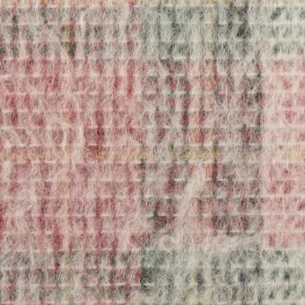 アクリル&ウール混×チェック(アイボリー、レッド&グリーン)×二重織_イタリア製