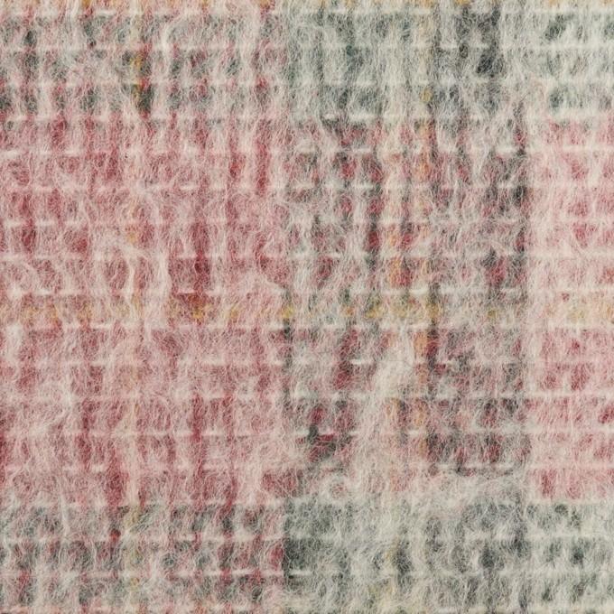 アクリル&ウール混×チェック(アイボリー、レッド&グリーン)×二重織_イタリア製 イメージ1