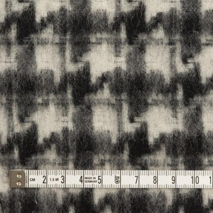 ウール&アクリル混×千鳥格子(アイボリー&ブラック)×かわり織_全3色 イメージ4