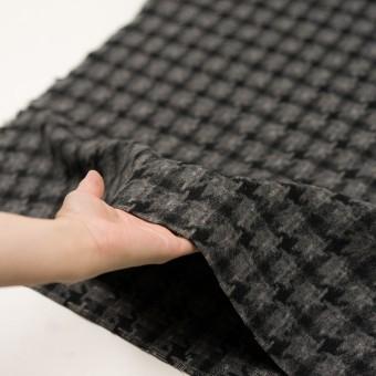 ウール&アクリル混×千鳥格子(チャコールグレー&ブラック)×かわり織_全3色 サムネイル5