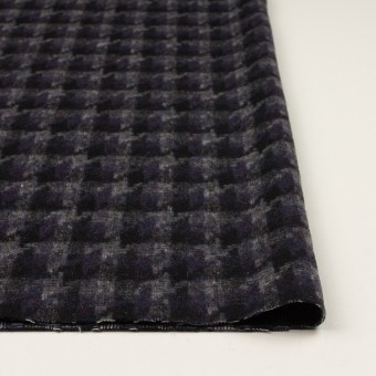 ウール&アクリル混×千鳥格子(バイオレット&ブラック)×かわり織_全3色 サムネイル3
