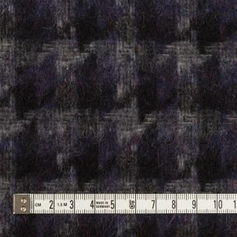 ウール&アクリル混×千鳥格子(バイオレット&ブラック)×かわり織_全3色 サムネイル4