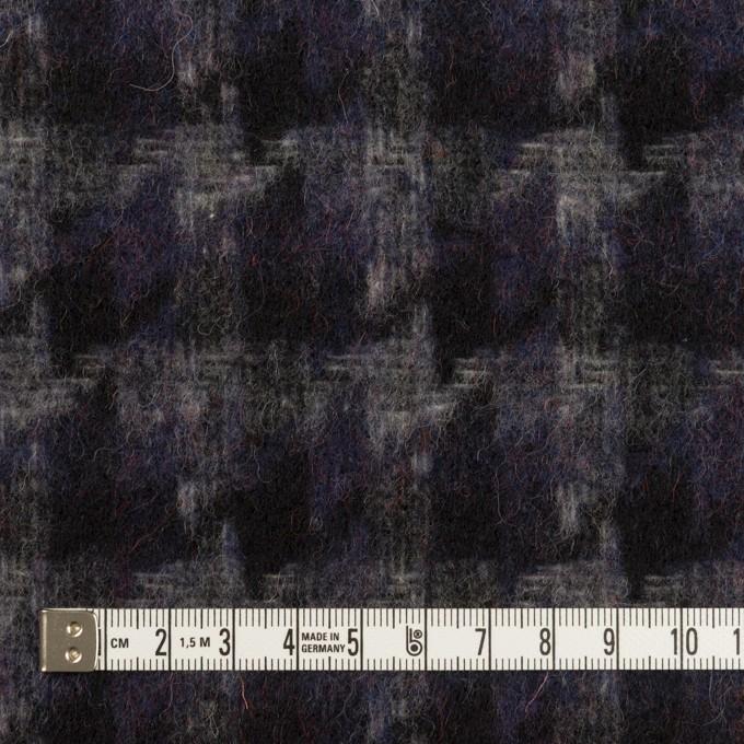 ウール&アクリル混×千鳥格子(バイオレット&ブラック)×かわり織_全3色 イメージ4