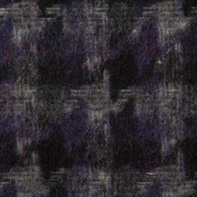ウール&アクリル混×千鳥格子(バイオレット&ブラック)×かわり織_全3色 イメージ1