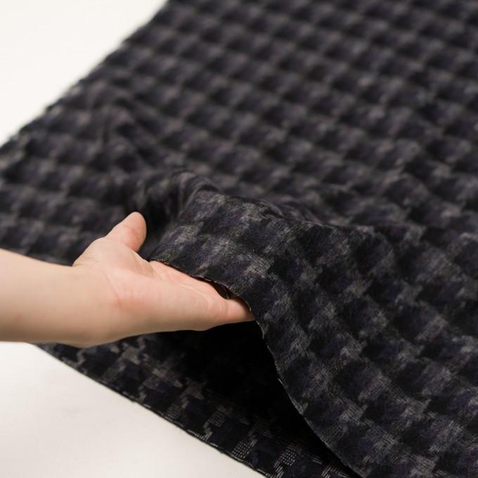 ウール&アクリル混×千鳥格子(バイオレット&ブラック)×かわり織_全3色 イメージ5