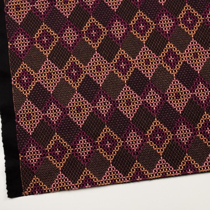 ウール×ダイヤ(アプリコット、ピンク&パープル)×フラノ刺繍 イメージ2