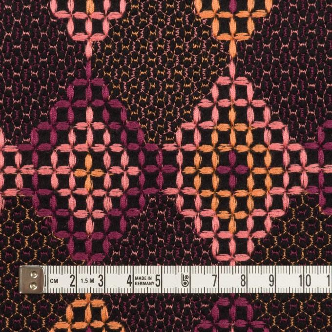 ウール×ダイヤ(アプリコット、ピンク&パープル)×フラノ刺繍 イメージ4