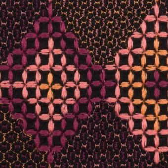 ウール×ダイヤ(アプリコット、ピンク&パープル)×フラノ刺繍