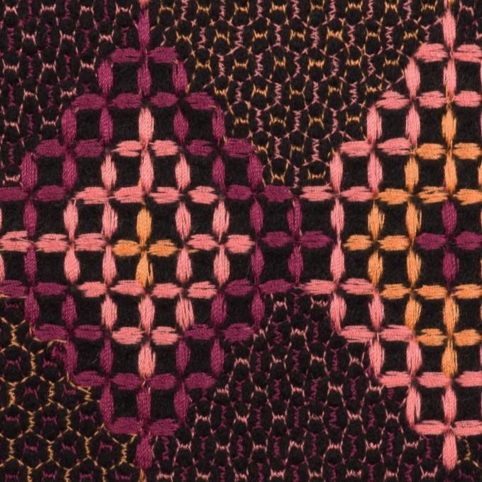 ウール×ダイヤ(アプリコット、ピンク&パープル)×フラノ刺繍 イメージ1