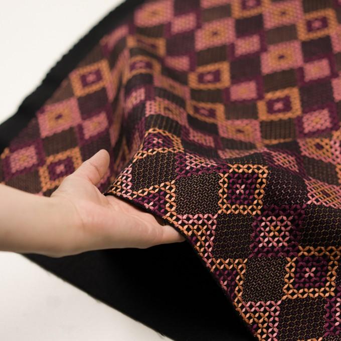 ウール×ダイヤ(アプリコット、ピンク&パープル)×フラノ刺繍 イメージ5