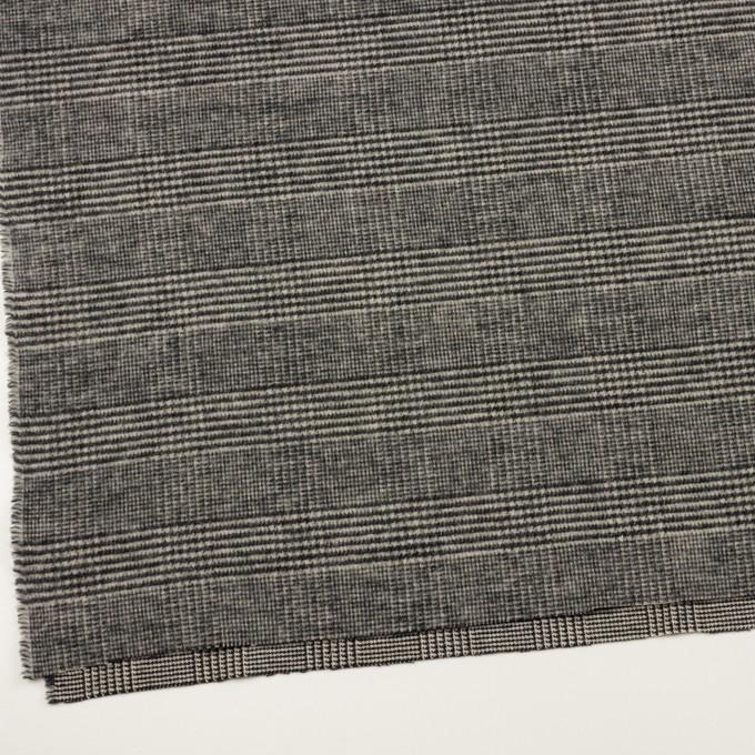 ウール&アクリル混×チェック(ブラック&キナリ)×ツイードストレッチ イメージ2