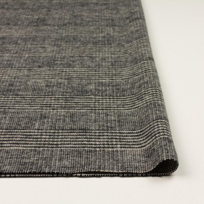 ウール&アクリル混×チェック(ブラック&キナリ)×ツイードストレッチ イメージ3