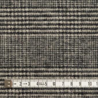 ウール&アクリル混×チェック(ブラック&キナリ)×ツイードストレッチ サムネイル4