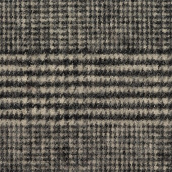 ウール&アクリル混×チェック(ブラック&キナリ)×ツイードストレッチ