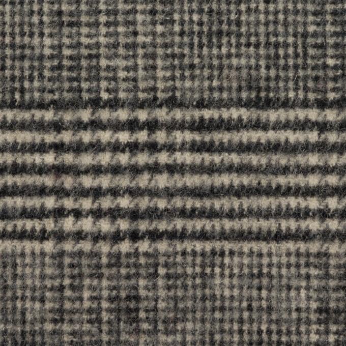 ウール&アクリル混×チェック(ブラック&キナリ)×ツイードストレッチ イメージ1