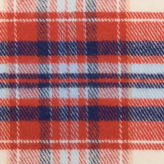 コットン×チェック(レッド、ブルー&サックス)×フランネル イメージ1