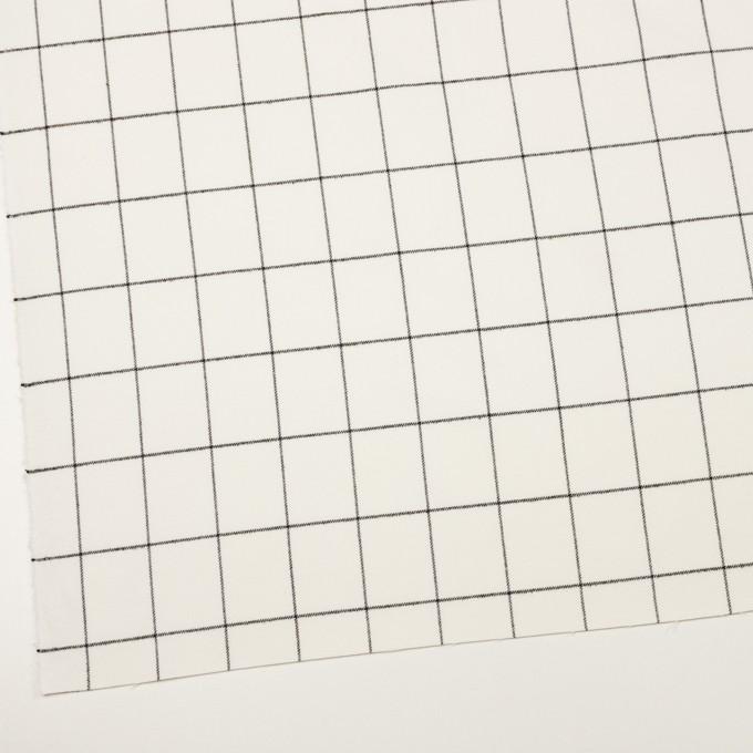 ポリエステル&レーヨン混×チェック(ミルク&ブラック)×サージストレッチ イメージ2