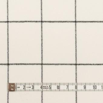 ポリエステル&レーヨン混×チェック(ミルク&ブラック)×サージストレッチ サムネイル4