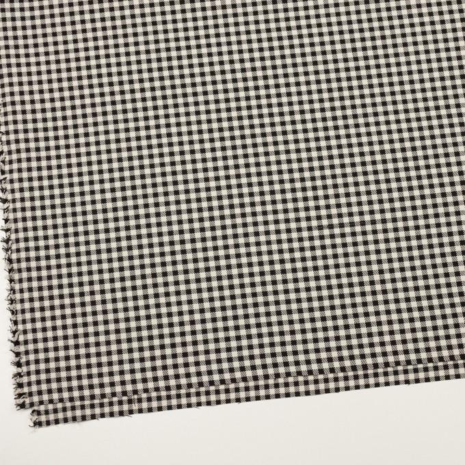 ポリエステル&レーヨン混×チェック(キナリ&ブラック)×サージストレッチ イメージ2