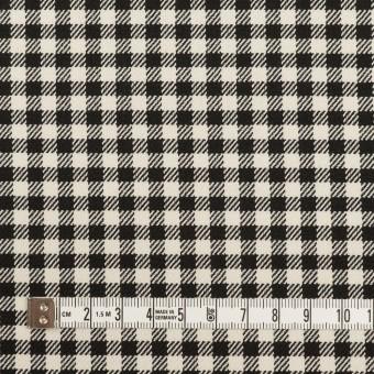 ポリエステル&レーヨン混×チェック(キナリ&ブラック)×サージストレッチ サムネイル4