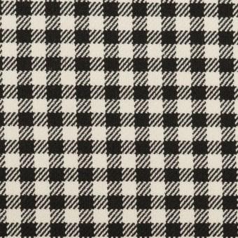 ポリエステル&レーヨン混×チェック(キナリ&ブラック)×サージストレッチ