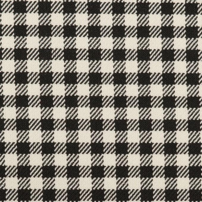 ポリエステル&レーヨン混×チェック(キナリ&ブラック)×サージストレッチ イメージ1