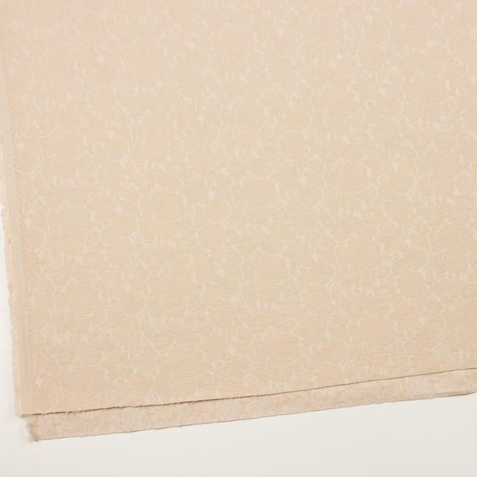 コットン&ポリウレタン×フラワー(ライトベージュ)×ジャガード・ストレッチ_全3色 イメージ2