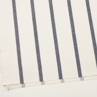 シルク&リネン×ストライプ(ミルク&ネイビー)×厚サージ サムネイル2