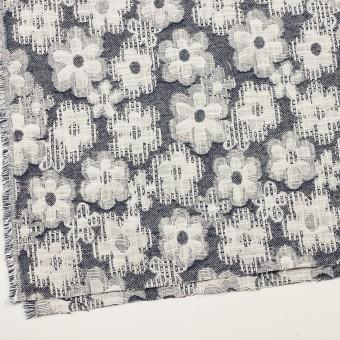 コットン&ビスコース混×フラワー(ネイビー)×二重ジャガード_全2色_イタリア製 サムネイル2