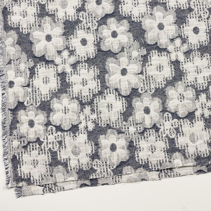 コットン&ビスコース混×フラワー(ネイビー)×二重ジャガード_全2色_イタリア製 イメージ2