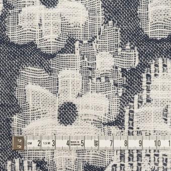 コットン&ビスコース混×フラワー(ネイビー)×二重ジャガード_全2色_イタリア製 サムネイル4
